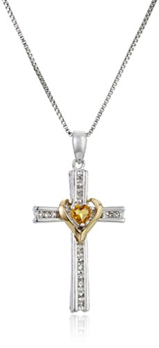 Amazon Collection Sterling Silver and 14k Gold Cross Pendant Necklace, 18″