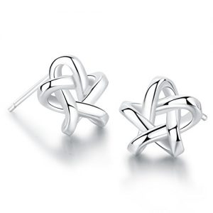 18K White Gold Plated Sterling Silver Earrings Fine Jewelry Weave Star Stud Earring
