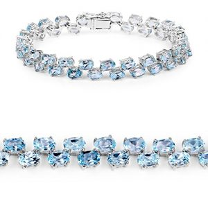 JOHAREEZ 23.46 cts Blue Topaz .925 Sterling Silver Rhodium Plated Bracelet for Women