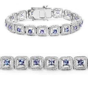 4.14 Carat Genuine Tanzanite .925 Sterling Silver Bracelet