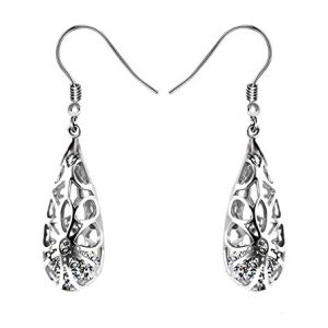 925 Sterling Silver Filigree Dangle Earrings for Women Fashion