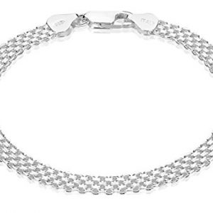 925 Sterling Silver Nickel-Free 5.5mm Bismark Chain Bracelet – Made in Italy + Jewelry Polishing Cloth