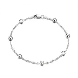 Amberta 925 Sterling Silver 1.4 Singapore Chain Bracelet Size with 4 mm Ball Beads 7″ 7.5″ in