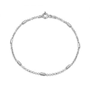 Amberta 925 Sterling Silver 1.4 mm Belcher Rolo Chain Bracelet Size with Tubes 7″ 7.5″ 8″ in