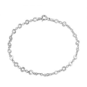 Amberta 925 Sterling Silver 1.5 mm Trace Chain Bracelet Size with 4 mm Disc 7″ 7.5″ 8″ in
