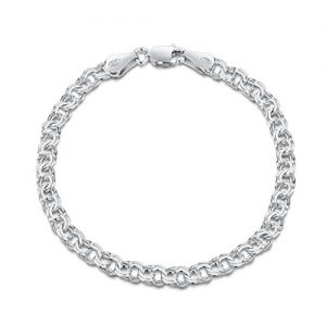 Amberta 925 Sterling Silver 4.5 mm Chunky Double Curb Chain Bracelet Size 7″ 7.5″ 8″ in