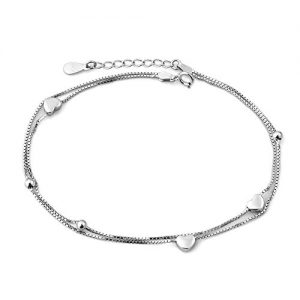Corykeyes Sterling Silver Hearts Box Chain Anklet Sexy Beach Ankle Bracelet