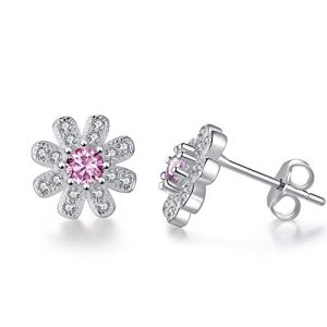 EVERU Flower Stud Earrings Sterling Silver, 4 Styles Options, Rose | Sunflower | Daisy | Lotus