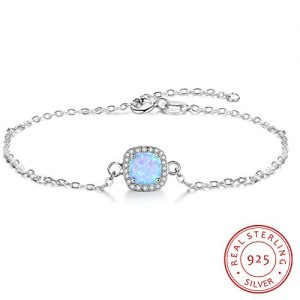 "EnjoIt S925 Created Opal Sterling Silver Bracelet Clear CZ Round Gemstone Jewelry for Women Adjustable 6.3""+1"""