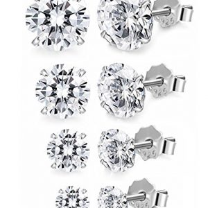 FUNRUN JEWELRY 4 Pairs Sterling Silver Stud Earrings for Women Men CZ Earring Piercing Hypoallergenic