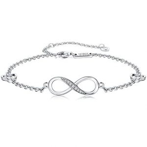 FUNRUN JEWELRY 925 Sterling Silver Infinity Bracelets and Anklet Bracelets for Women Girls 4-Level Adjustable Length Gift for Mother's Day