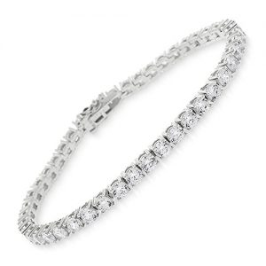 In Style Designz Sterling Silver 3.5mm Brilliant-Cut Clear Round CZ White Tennis Bracelet 6.5″, 7″, 8″