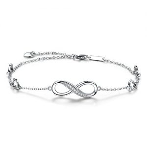 Infinity Ankle Bracelet For Women,925 Sterling Silver Charm Adjustable Anklet