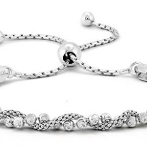 Pori Jewelers Italian 925 Sterling Silver DC Ball Twisted Coreana Adjustable Bolo Bracelet (Silver)