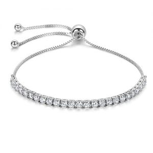 J.Fée Sterling Silver Plated Adjustable Bracelet Shining Luxury Jewelry with Gift Box& Meaning Card Simulated Diamond…