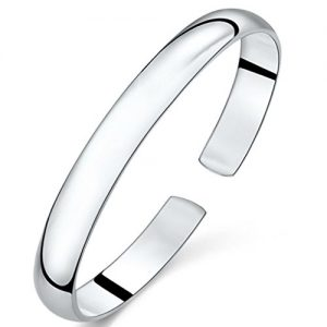JIAYIQI Simple Silver Plated Color Open Bangle Bracelet for Women