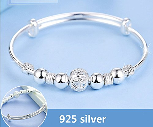 Keklle Women's Simple Sterling Silver Beads Bangle ...