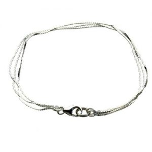 Multi-Strand Sterling Silver Serpentine Chain Bracelet Italy