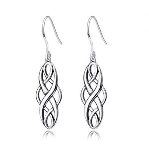 S925 Silver Dangle Earrings Sterling Silver Polished Good Luck Irish Celtic Knot Vintage Dangles