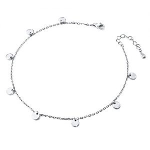 SILVER MOUNTAIN Dot Anklet for Women S925 Sterling Silver Adjustable Beach Style Foot bracelet