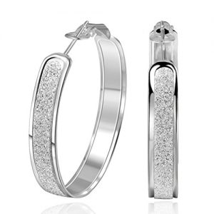 SUNGULF Sterling Silver Glitter-Patterned Hoop Earring Jewelry for Women