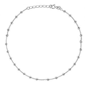 Sterling Silver Beaded Link Italian Adjustable Anklet (9″-10″) or Chain Necklace
