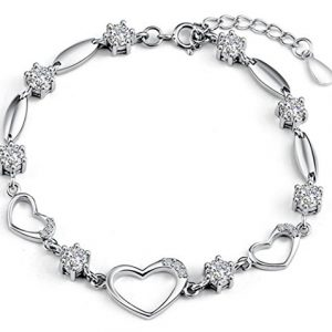 Sterling Silver Bracelet Women Heart Hand Chain Authentic Crystal Link Bracelets Mothers's day gift