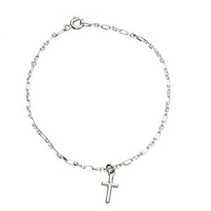Sterling Silver Cross Charm Anklet Italy