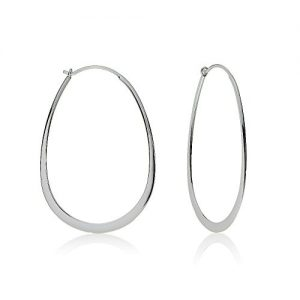 Sterling Silver Flat Thin Lightweight Oval Polished Hoop Earrings, One Pair Set