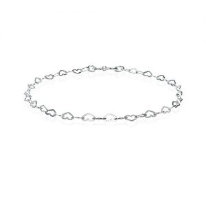 Sterling Silver Heart Loop Link Chain Tennis Bracelet for Women Teens