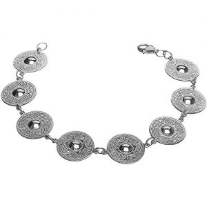 Sterling Silver Irish Celtic Warrior Shield Bracelet