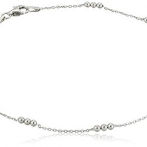 Sterling Silver Italian Diamond Cut Bead Station Anklet , 9.75″