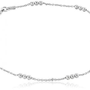 Sterling Silver Italian High Polished 3 Bead Station Anklet, 8.75″