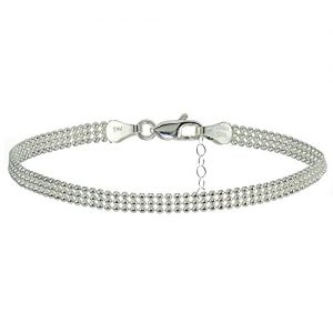 Hoops & Loops Sterling Silver Mesh Design Anklet