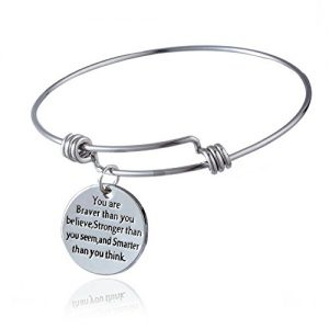 """You are Braver than you believe, Stronger than you seem and Smarter than you think"" Bangle Bracelet"