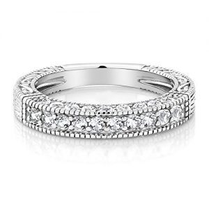 Gem Stone King 1.00 Ct White Created Sapphire 925 Sterling Silver Wedding Band Ring (Available 5,6,7,8,9)