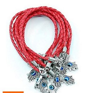 "10PCS ""Lucky""HAMSA Red String Kabbalah Bracelets with Braided String&Rotating""Evil Eye""Hamsa Hand"