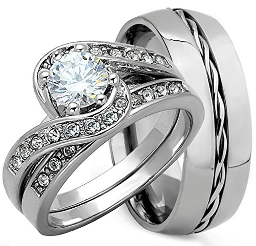 b735a2d05182bc 3 Pieces Men's and Women's, His & Hers, 925 Genuine Solid Sterling ...