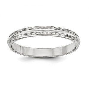3mm High Polish Finish Half Round Domed Milgrain Sterling Silver Wedding Band