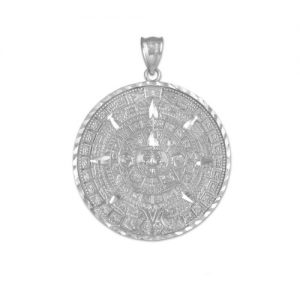 925 Sterling Silver Aztec Charm Mayan Calendar Pendant