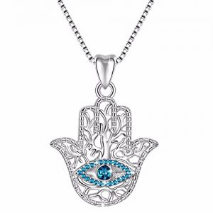 925 Sterling Silver Evil Eye Hamsa Hand Fatima Good Luck Blue CZ Vintage Pendant Necklace, Box Chain 18″