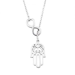 YFN Hamsa Hand Pendant Necklace Infinity Fatima Hand Women Necklace 18″