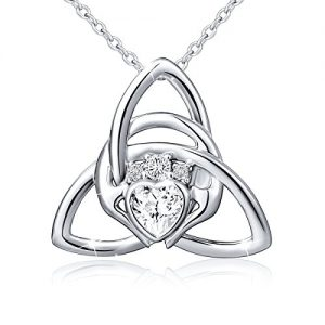 925 Sterling Silver Irish Claddagh Celtic Knot Love Heart Pendant Necklace for Women Birthday Gift, 18″ Rolo Chain