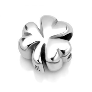 925 Sterling Silver Shamrock Clover Leaf Bead Charm Fit Major Brand Bracelet