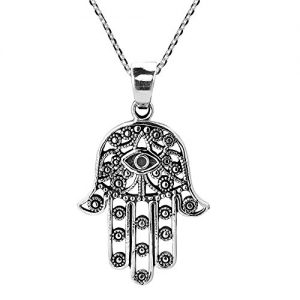 AeraVida Henna Hamsa Hand of Fatima with Evil Eye .925 Sterling Silver Necklace