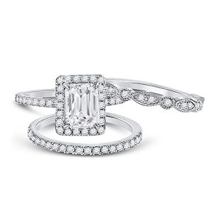 Allyanna Gifts 925 Sterling Silver 2 ct CZ Emerald-cut Wedding Engagement Ring Set Size 5-10