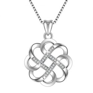 Angemiel 925 Sterling Silver CZ Good Luck Celtic Knot Cross Vintage Pendant Necklace Womens