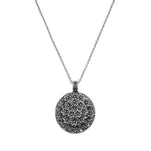 Antique Silver Tone Round Flowers Pendant Necklace Chain Long Necklace