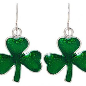 Artisan Owl – Irish Shamrock Green Enamel Good Luck Charm Clover Dangle Earrings