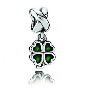 "Authentic Highest Quality EvesErose Silver Irish ""Four Leaf Clover Shamrock"" Bead Sterling Charm Fits Pandora & Similar Bracelets"
